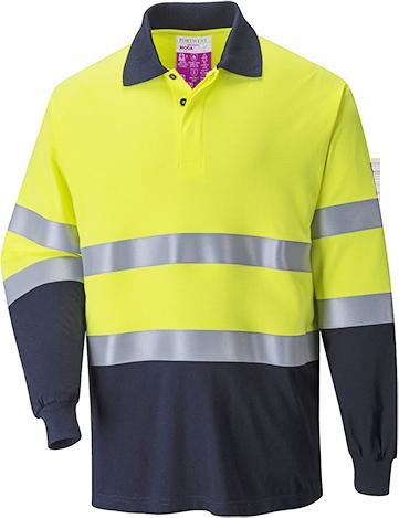 Flame Resistant Anti Static Hi-Vis 2-Tone Polo Shirt